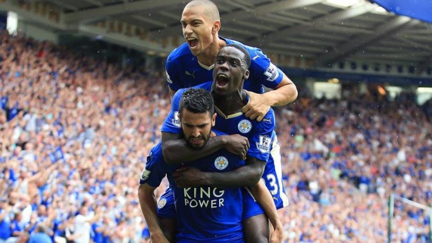 Leicester City players celebrate a goal at a past league gamer. Leicester Win thier First Premier League Title. (Net photo)