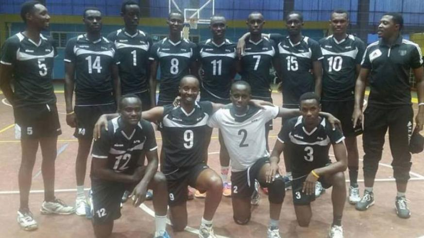 APR Volleyball Club players pose for a photo prior to their match against Umubano Blue Tigers. (Courtesy)