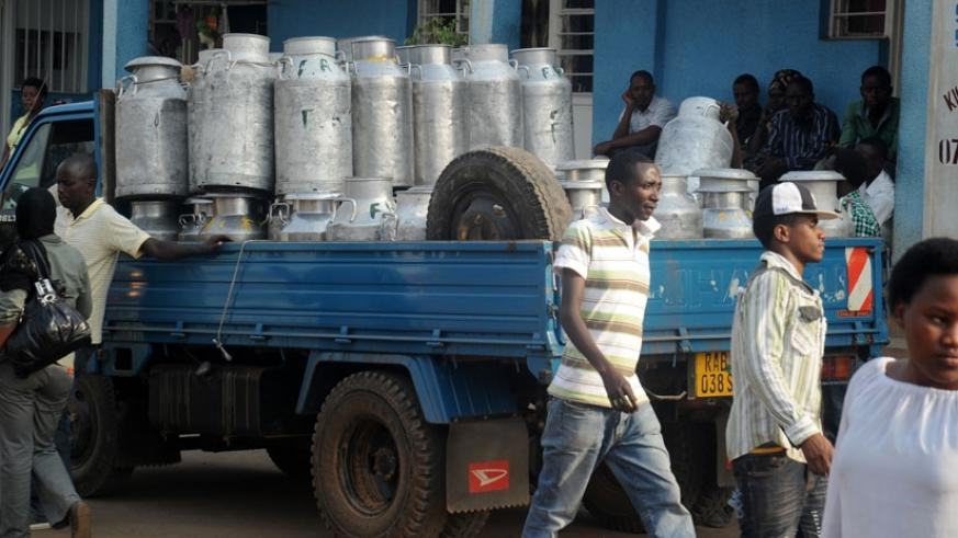 A car carries milk in cans for supply in Nyagatare District. (File)