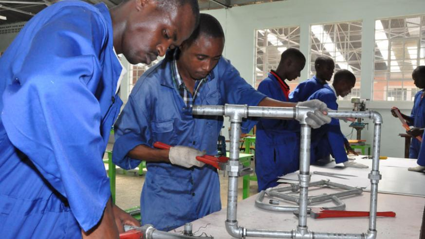 TVET students during a plumbing practical session. (File)