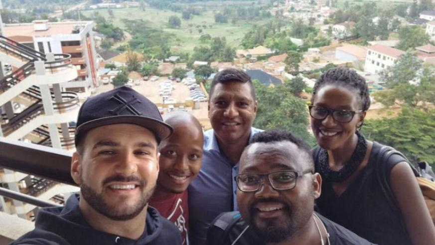Enjoying Kigali's beautiful scenery. The multi award winning South African band is in Kigali for its first concert in the country. (Julius Bizimungu)