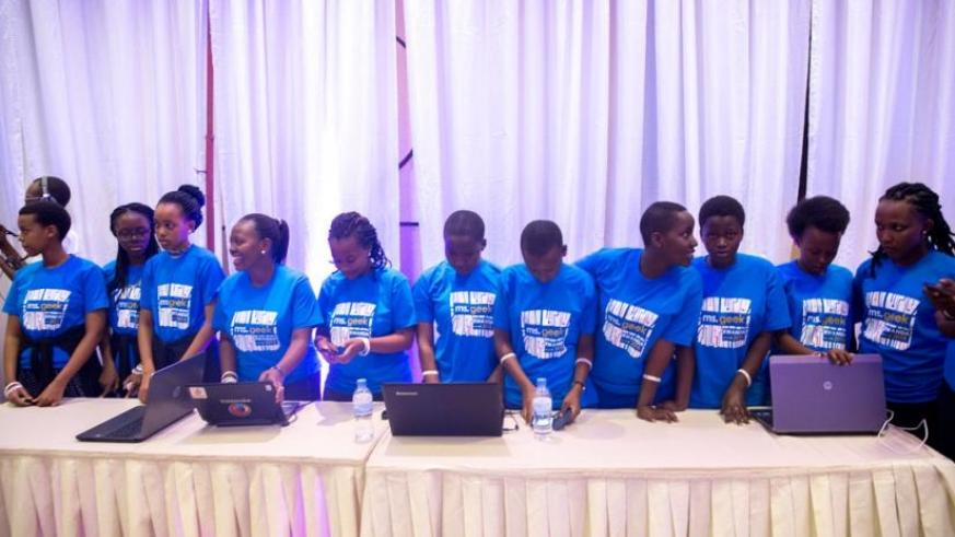 Girls in ICT during the 3rd Annual Ms Geek competition in Kigali on April 30. (Courtesy)