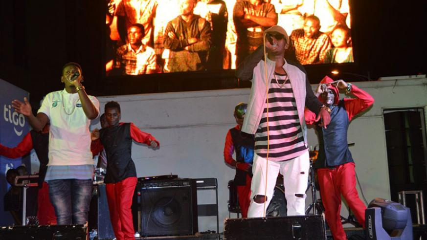 The RnB duo of TMC and Platini perform during the Thursday show at the car-free zone. (Julius Bizimungu)