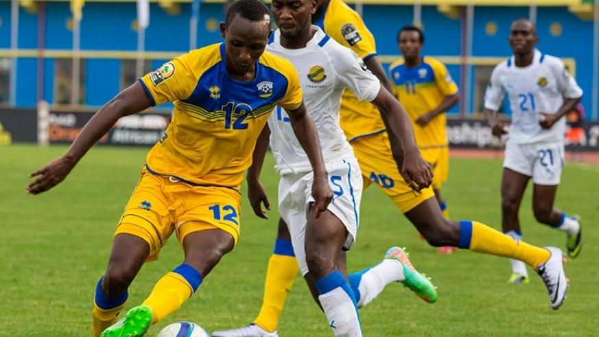 Jean-Claude Iranzi in action against Gabon in 2016 CHAN tournament. He will lead the hunt for goals in today's game against Senegal. (Timothy Kisambira)