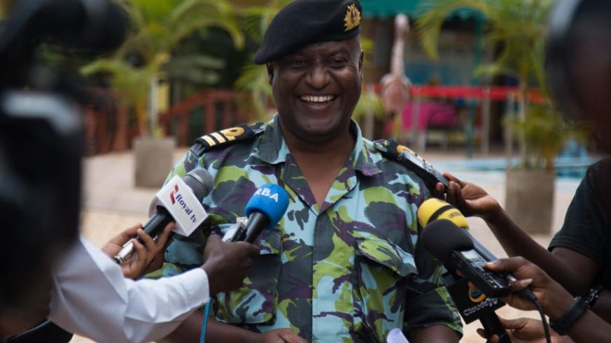 Lt Col. Saeed, the head of maritime cell at East African Standby Force, speaks to the media in Kigali, yesterday. (Timothy Kisambira)