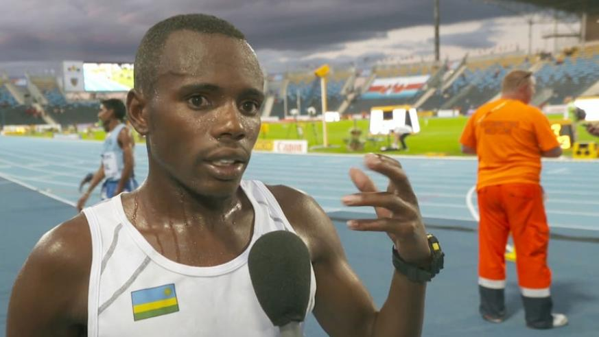 Jean Marie Myasiro speaks to the media after competing in 10,000m at the 2016 IAAF World U20 Championships in Bydgoszcz. (Net photo)