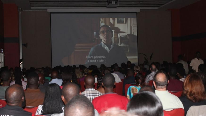Film lovers relish one of the movies that were screened on the night. / Moses Opobo.
