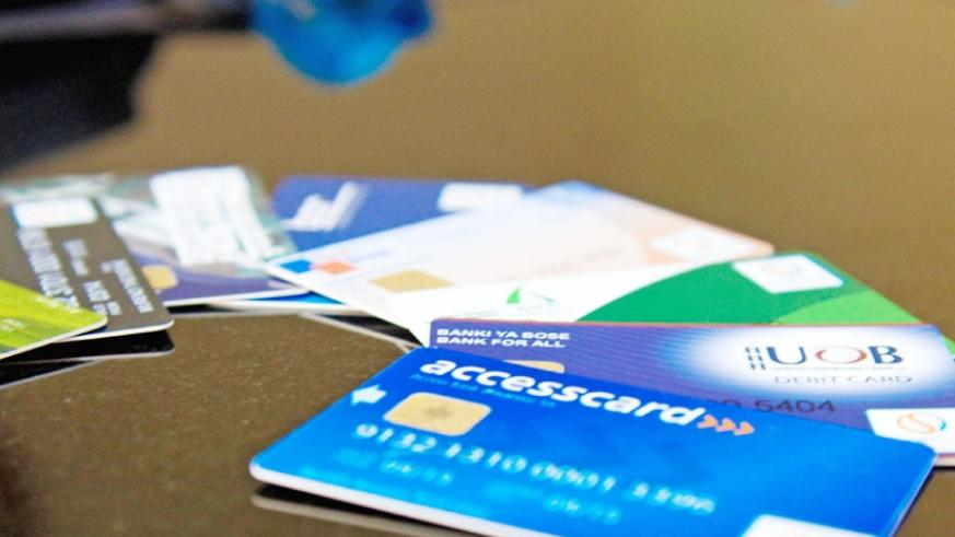Some of the debit cards that can be used for cashless payments in Rwanda. (File)