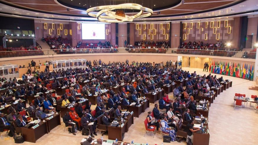 Delegates during proceedings of the 27th African Union Summit that took place at the recently-completed Kigali Convention Centre. / Timothy Kisambira.