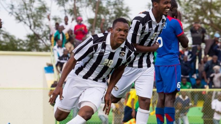 Rwatubyaye (L) wheels away to celebrate after completing his hat-trick in APR's 4-1 against Mbabane Swallows in CAF Champions League. / File.