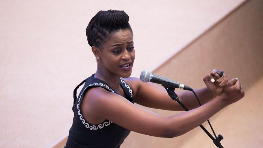 Angel Uwamhoro performs during the opening ceremony of the African Union Summit. / Village Urugwiro.