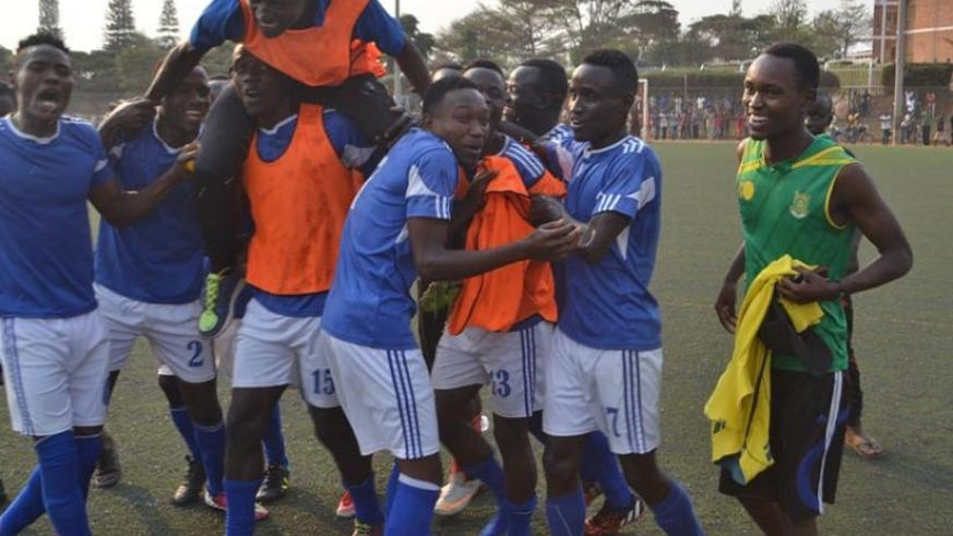Pepiniere players celebrate after defeating Interforce 2-0 to qualify to the topflight league. (Courtesy)