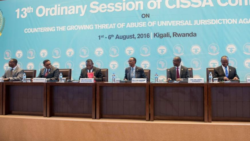 President Kagame and other security chiefs at the opening of the 13th Conference of the Committee of Intelligence in Kigali yesterday. (Village Urugwiro.)