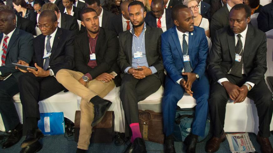 Government officials and other guests at the World Economic Forum in Kigali. MICE is a big growth driver. )Timothy Kisambira)