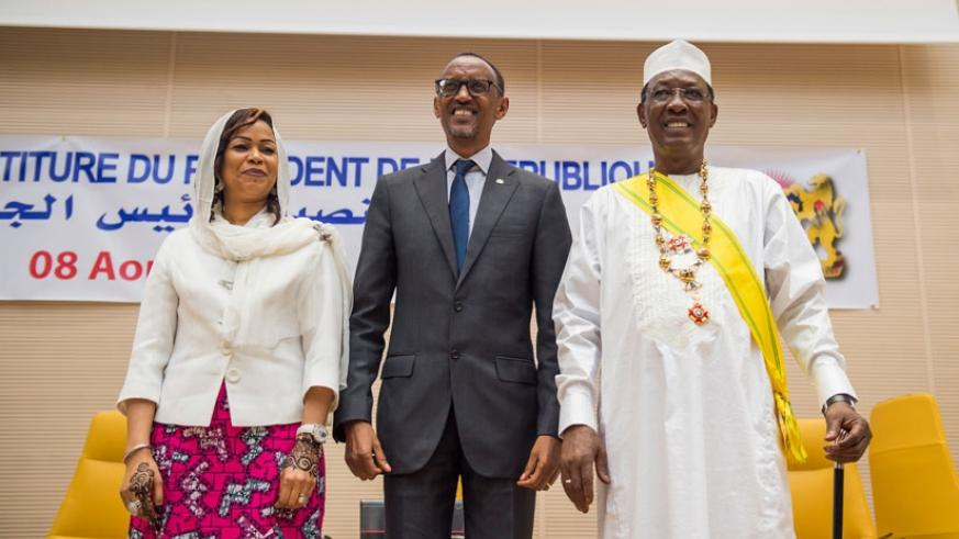 President  Paul Kagame with Chadian President and First Lady at the swearing in ceremony held in N'Djamena yesterday. / Village Urugwiro.