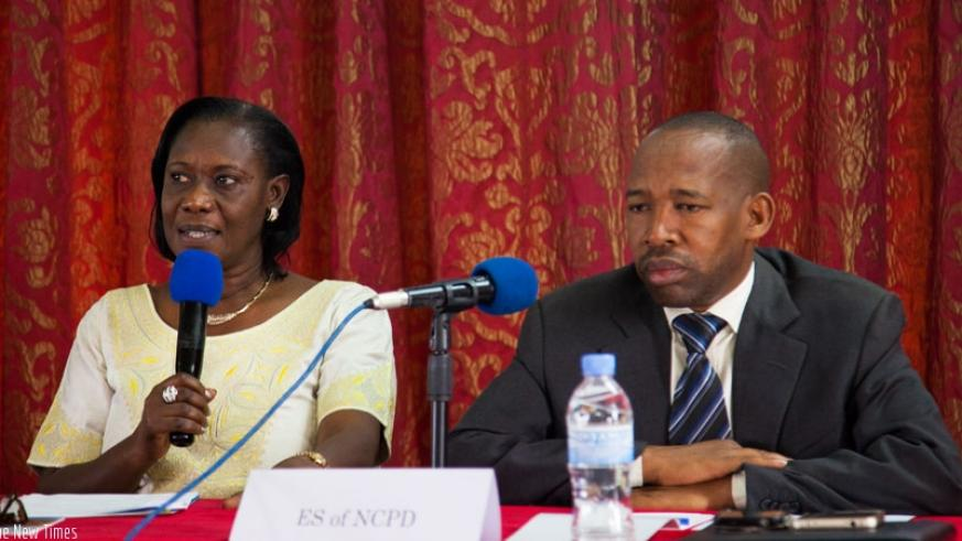 Dr Mukabaramba (L) speaks as Ndayisaba looks on during the workshop on Tuesday, in Kigali. (Alll photos by N. Imbabazi)