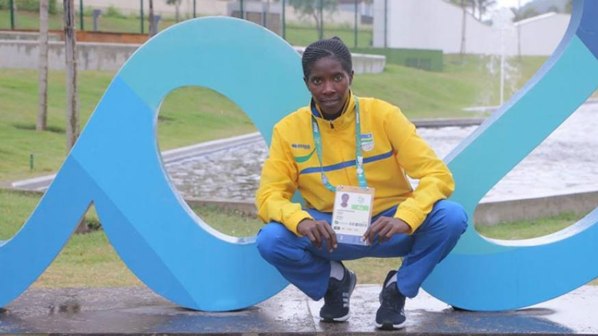 Mukasakindi poses for a photo in Rio before the women's marathon competition on Sunday where she posted her worst time due to an ankle injury. (Courtesy)