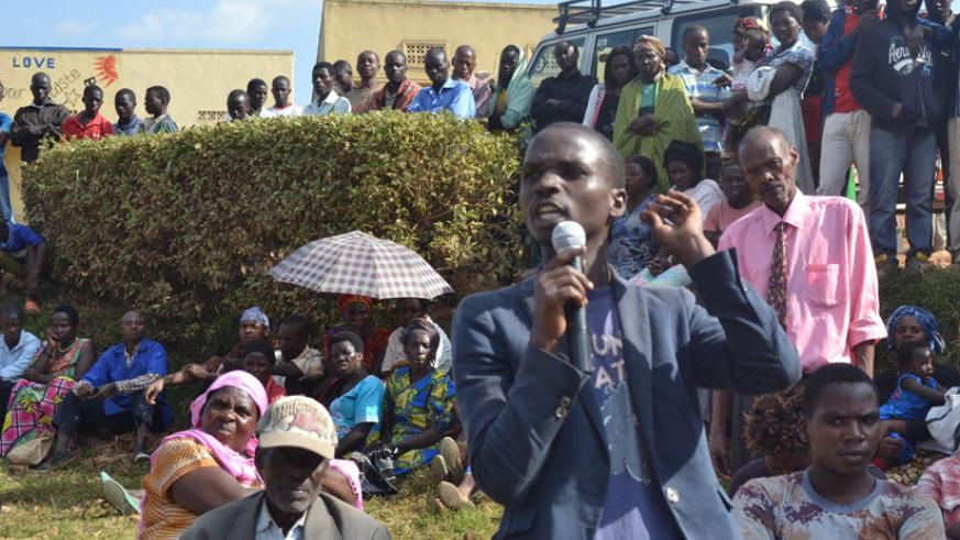 A resident shares his views during the meeting in Gicumbi Distirct on Thursday. / Courtesy.