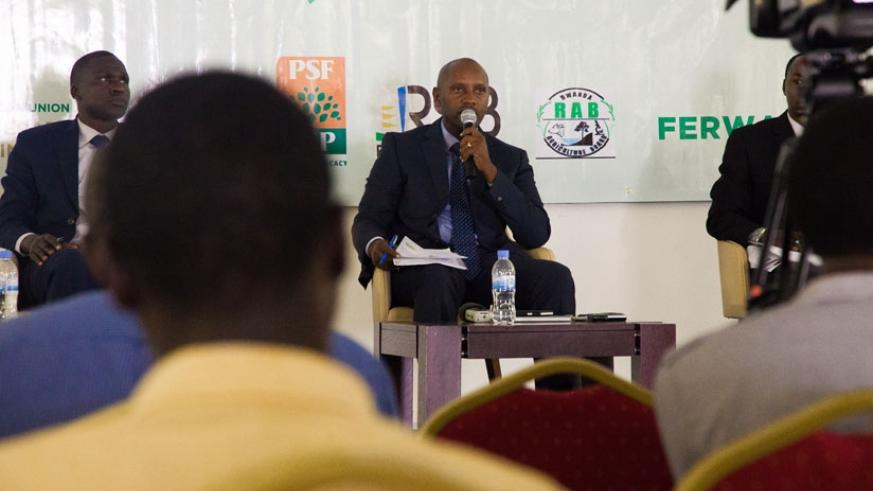 Amb. Kayonga speaks at the news conference in Kigali, yesterday. / Nadege Imbabazi.