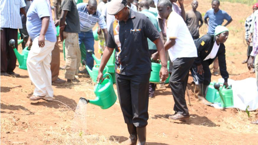 Kayonga at the launch of the irrigation promotion drive in Kirehe . / Peterson Tumwebaze.