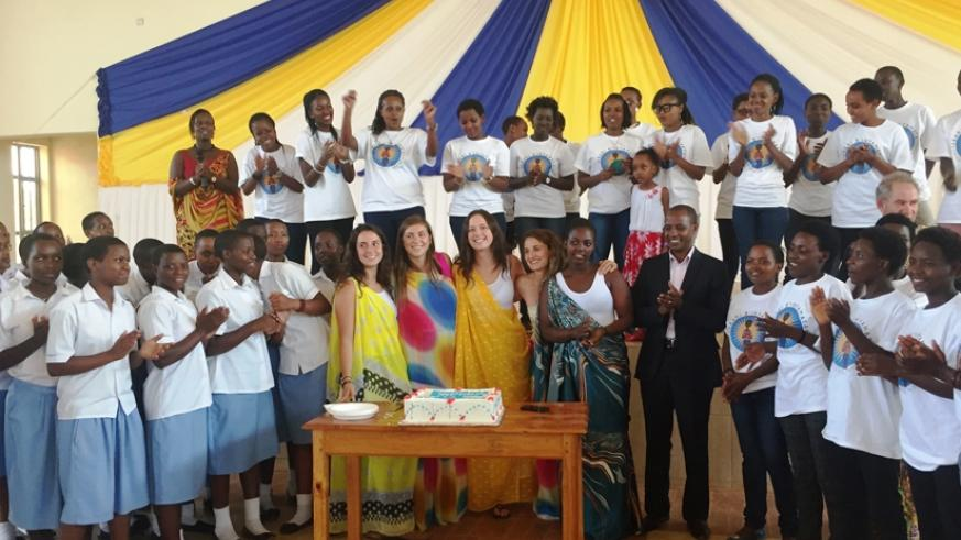 The mayor of Bugesera district and Jessica's team from the US joined the students to celebrate the 10th anniversary. (Julius Bizimungu)