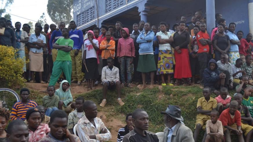 Residents of Kaniga Sector, Gicumbi District during a public discussion with local authorities last week. Both parties committed to join efforts to fight persistent drug abuse in t....