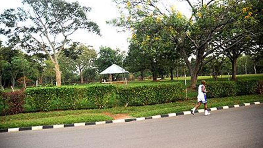 A man jogs around the Premature roundabout in Kimihurura. (File photo)