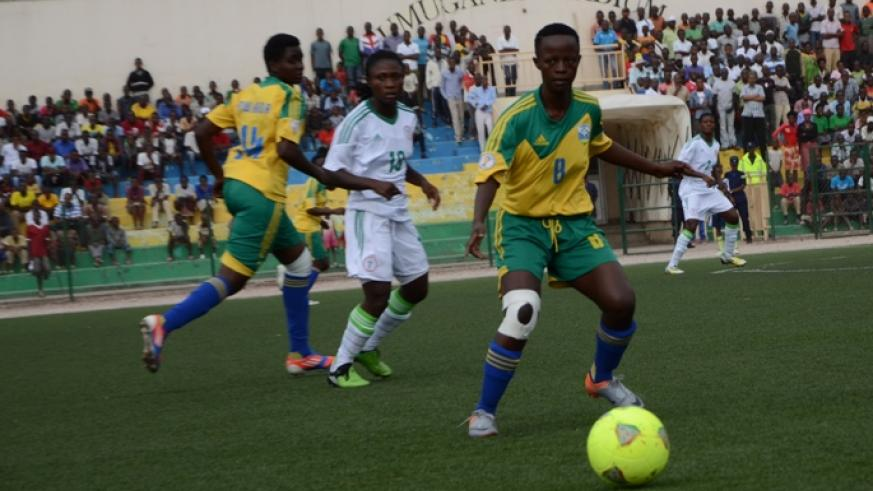 Chadia Uwamahirwe, in action against Nigeria in 2014, will lead She-Amavubi midfielder in their attempt to win the first regional women tournament.
