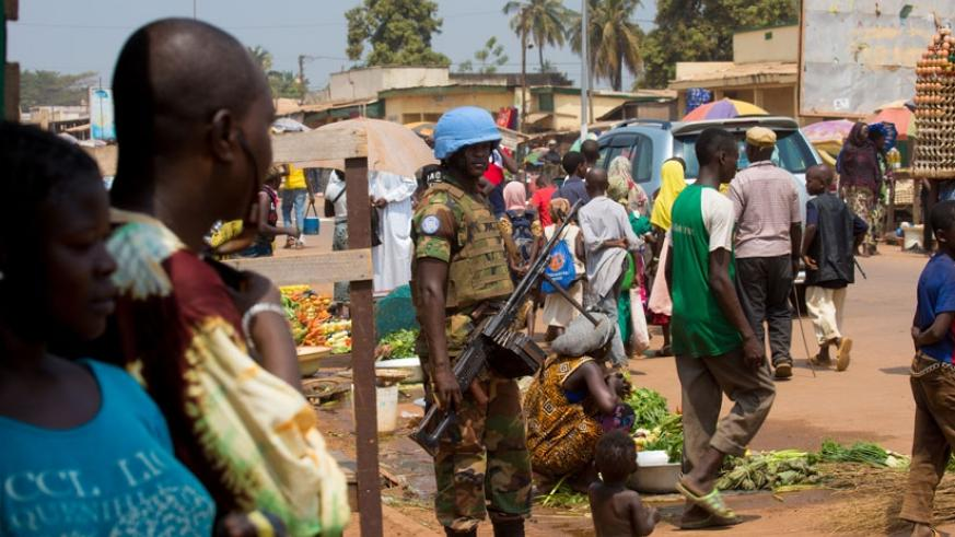 A Rwandan peacekeeper on patrol in Bangui, Central African Republic. / Timothy Kisambira.