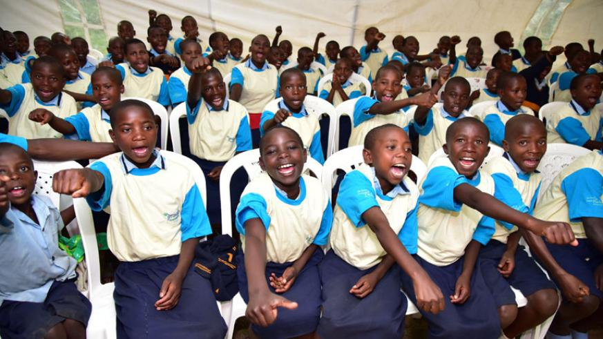 Children and members of Rubaya Sector show their support during ASRH&R Day. / Courtesy