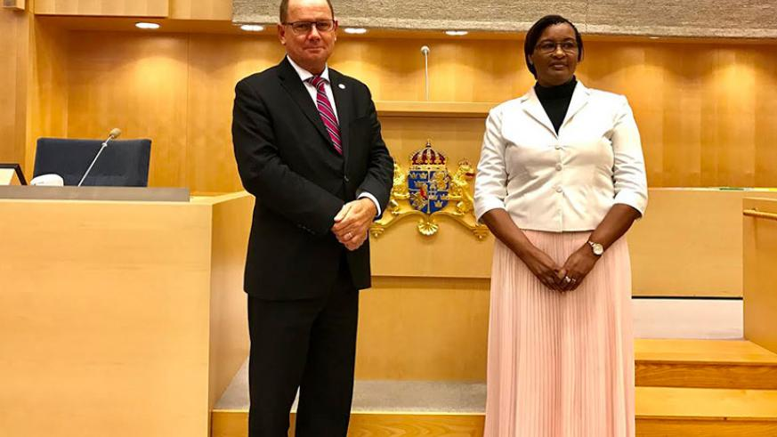 The Speaker of the Parliament of Sweden, Mr. Urban Ahlin with Speaker Mukabalisa at the Swedish Parliament. / Courtesy