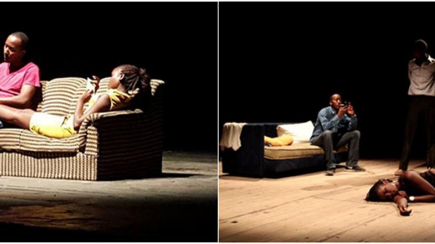 LEFT: A scene from the play. | RIGHT: The three characters of the play: Laure Scheilla Inangoma (front), Freddy Sabimbona and Christian Elvis Sinzinkayo (back). / Courtesy