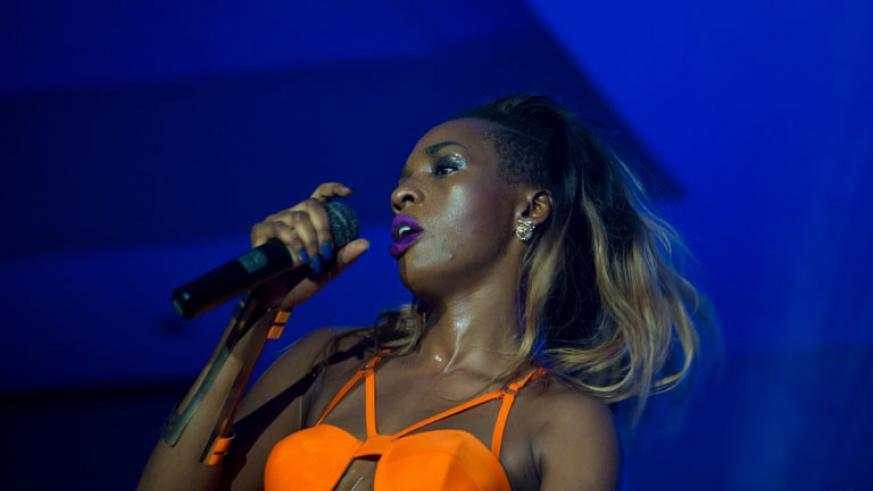 Cindy Sanyu, the Ugandan dancehall female artiste, performs during the Jazz night in Kigali. / Timothy Kisambira