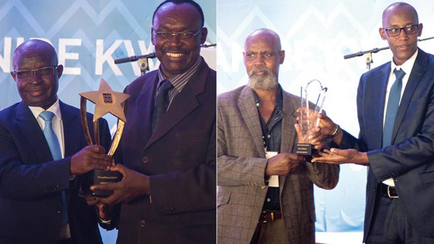 Left: Trade, Industry and EAC Affairs minister Francois Kanimba (on the right) awards Jacques Rusirare, chief executive of Ameki Colour, for best exhibitor at the second Made-in-Rwanda expo that ended yesterday. Right: Albert Munyemana, chief executive of Art Mix Media (L) receives an award from the Chief Executive of Private Sector Federation, Stephen Ruzibiza, as the best handcraft exhibitor. Kanimba said the law on public procurement will be reviewed to give locally-made products preference. / Nadege Imbabazi