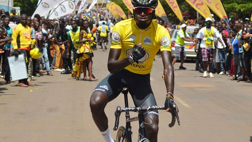 Valens Ndayisenga celebrating after winning Tour du Rwanda for the second time. (File photo)
