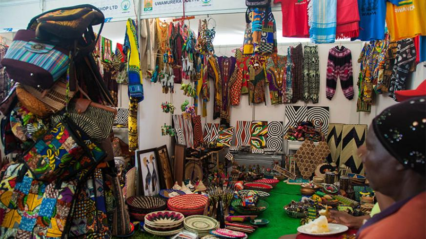 An exhibitor of art and craft at the Made-in-Rwanda Expo last week. / Nadege Imbabazi
