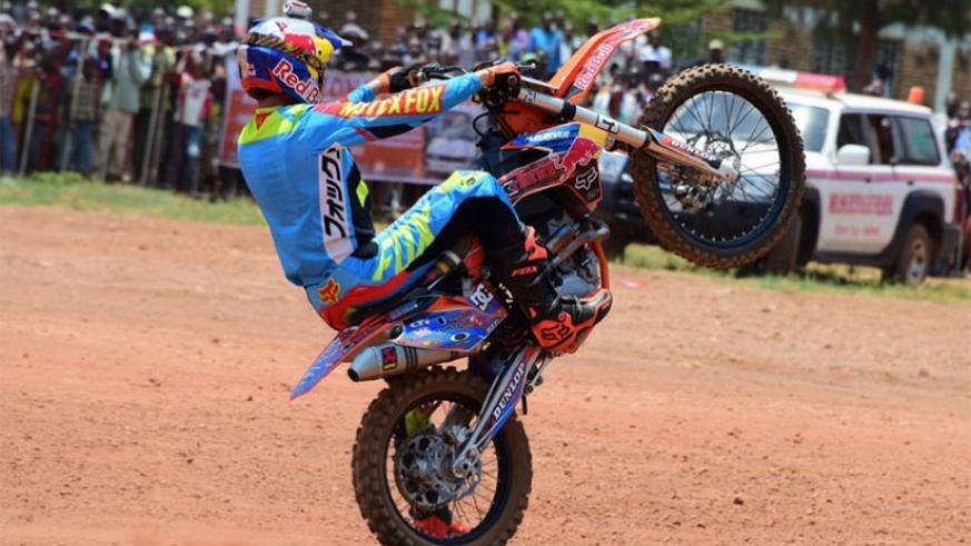 For the first time, Freestyle motocross captivated crowds during the Huye rally. (File photo)