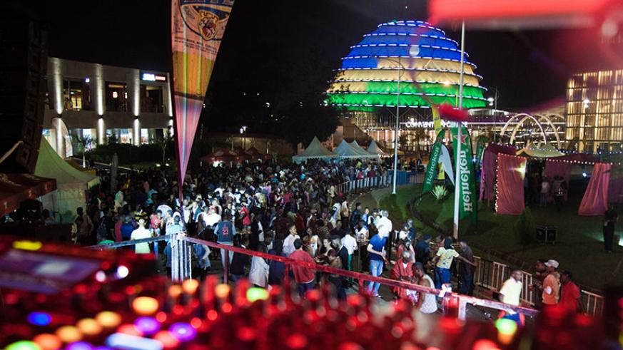 Hundreds of revelers converged at the Kigali Convention Centre to usher in the New Year on Saturday. / Nadege Imbabazi