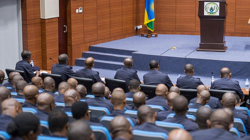 President Paul Kagame addressing  the 'Police High Council'