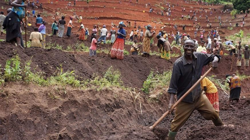 Farmers in Gisagara make terraces as part of efforts to practice modern farming. (File)