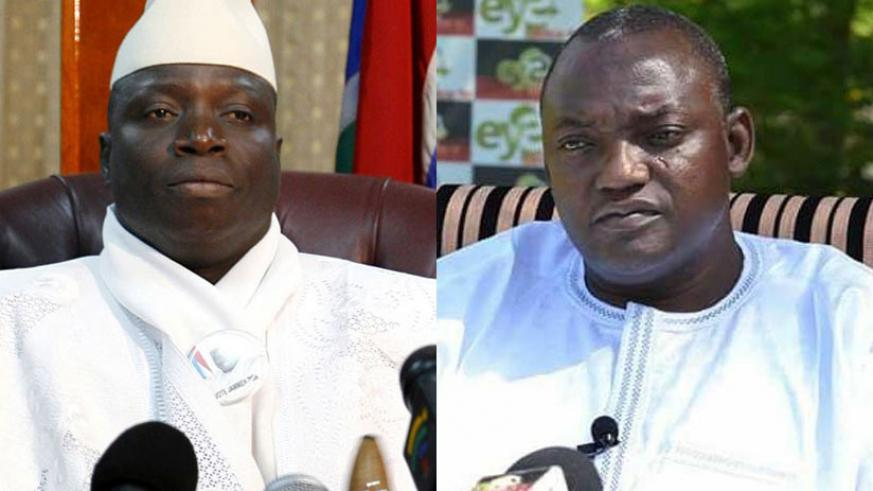 The Gambia's president-elect Adama Barrow (right) and defeated incumbent Yahya Jammeh, whose mandate officially ends today. / Internet photos