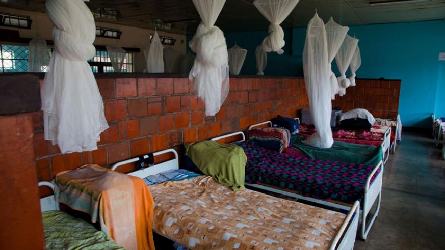 Mosquito bed nets hung in a dormitory at IFAK Secondary School in Kimihurura, Kigali. / File