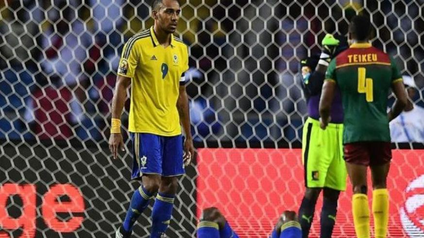 Gabon captain Pierre-Emerick Aubameyang (R) had an early miss in Libreville.