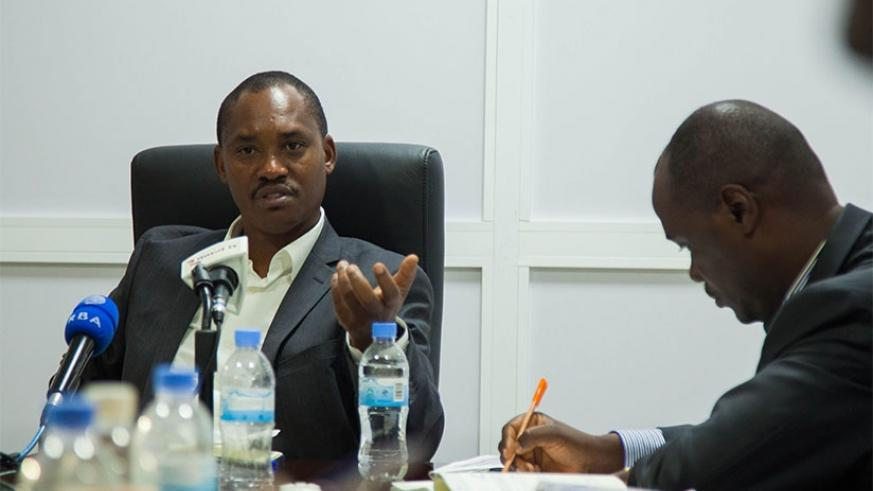 Sano addresses the media during the news conference in Kigali yesterday. (Photos by N. Imbabazi)