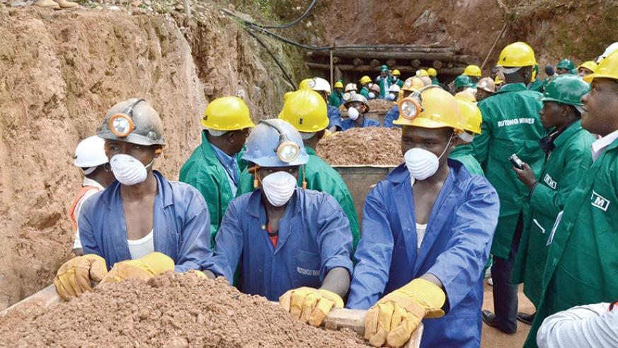 Miners leave a tunnel at Rutongo Mines in Rulindo District. (File)