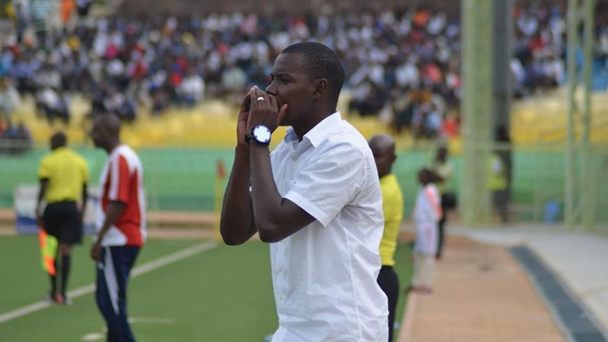 APR coach Jimmy Mulisa gives instructions to his team during a league match against Etincelles. APR will face Zambia's Zanaco in CAF Champions League.