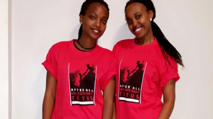 Isimbi and Kamaraba wearing T-shirts branded with the President's inspirational quotes. (Donata Kiiza)