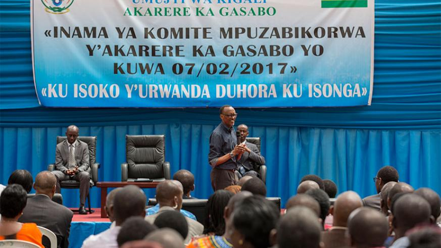 President Kagame addresses Gasabo District local leaders at Petit Stade in Remera yesterday. Kagame spoke out against choosing to import goods that are not only locally made but ar....