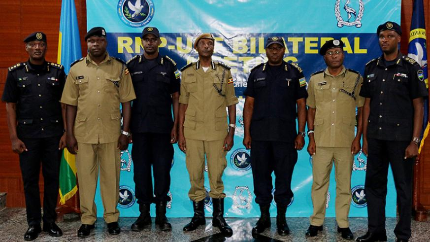 Senior police officers from Rwanda and Uganda during the meeting