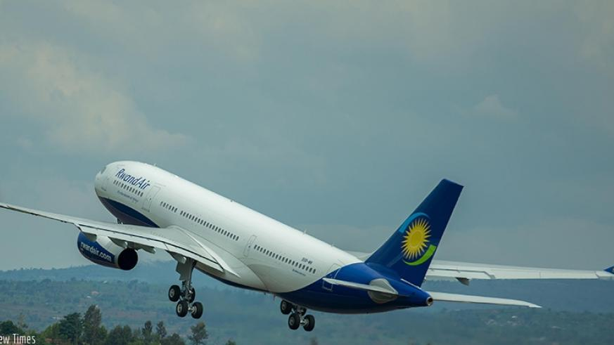 A RwandAir plane takes off at Kigali International Airport. File.